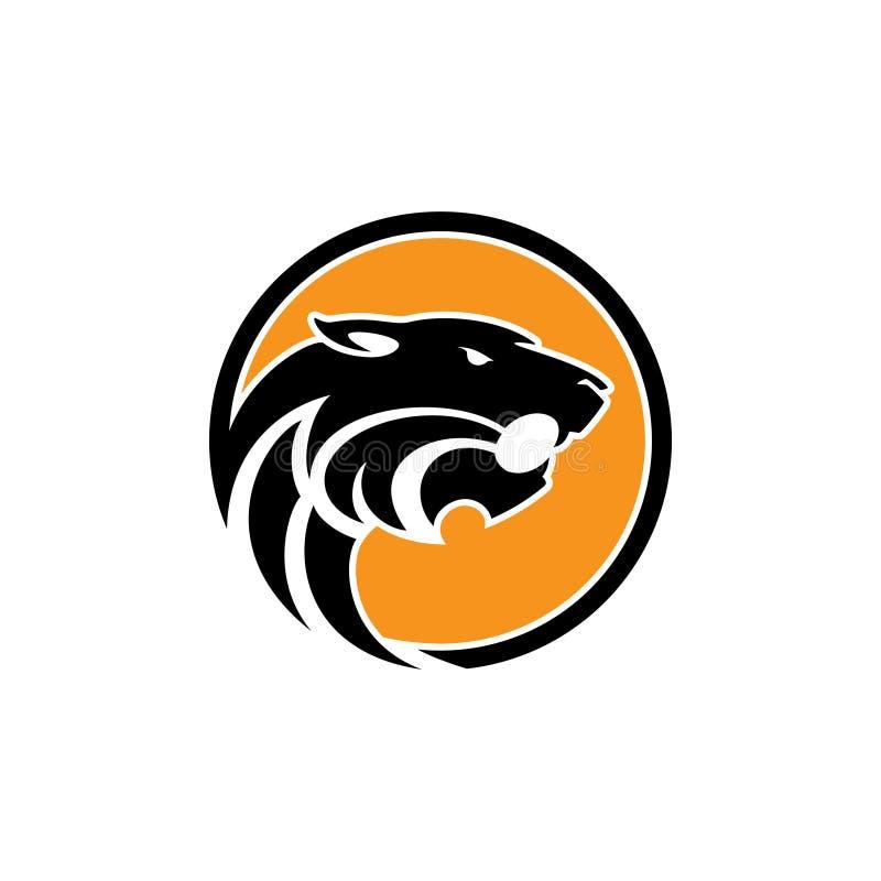 Tête de tigre - dirigez l'illustration de concept de logo dans le style graphique classique Signe principal de silhouette de tigr illustration de vecteur