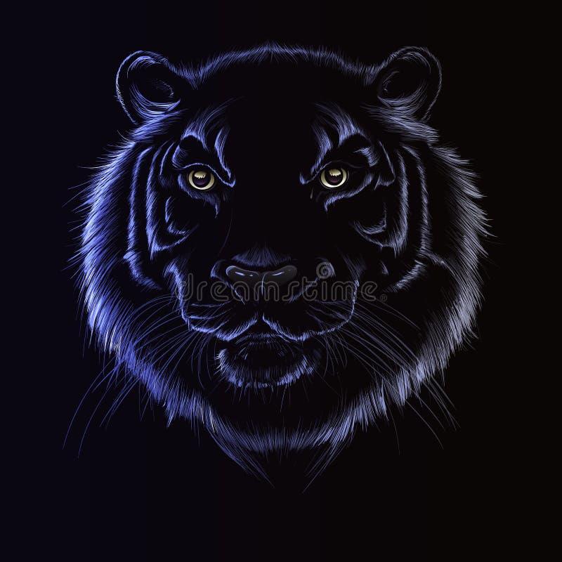 Tête de tigre sur le fond noir, illustration de vecteur, pour la conception, photo stock
