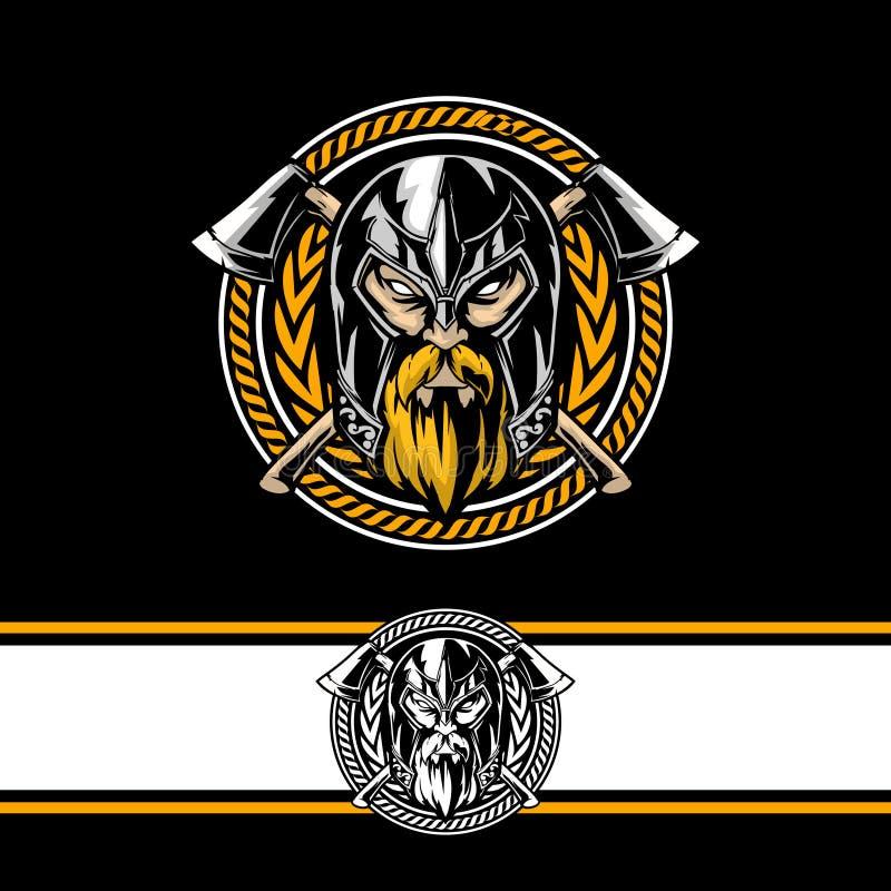 Tête de Viking avec le calibre rond de logo de hache de vecteur croisé de caractère illustration libre de droits
