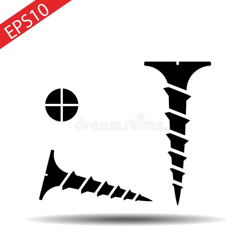 Tête de vis et de vis Illustration de vecteur d'isolement sur le fond blanc illustration de vecteur