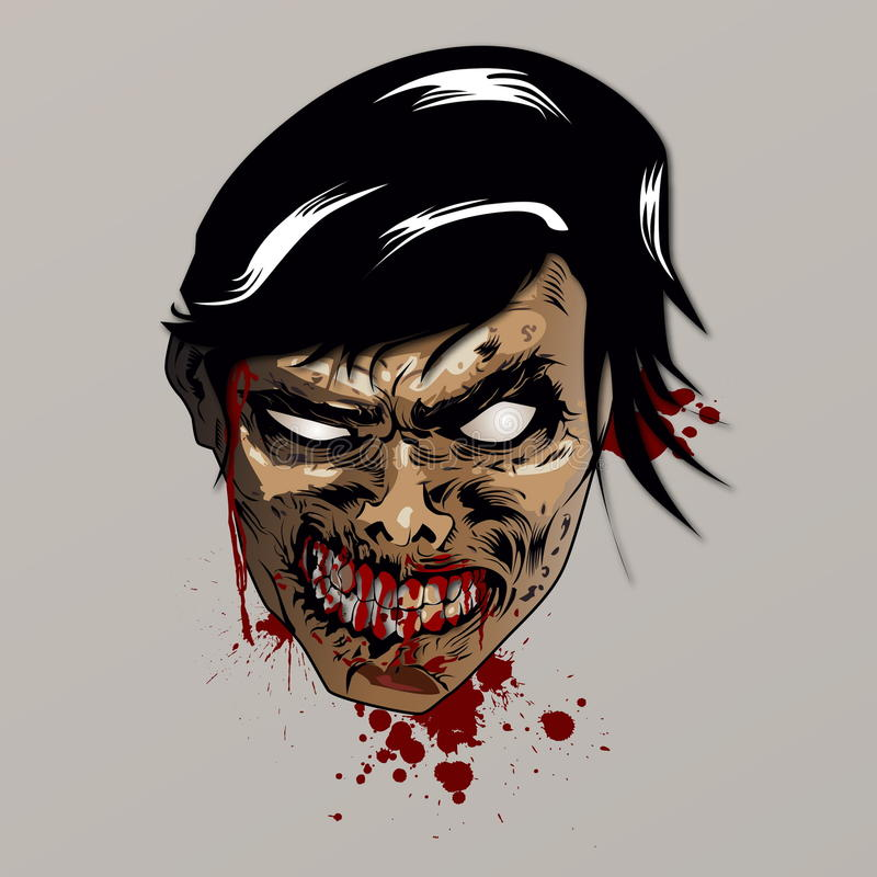 Tête de zombi illustration stock