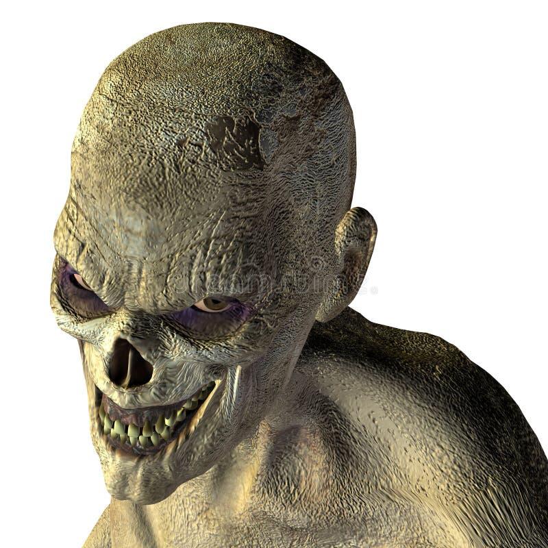 Tête de zombi avec l'oeil mauvais illustration libre de droits