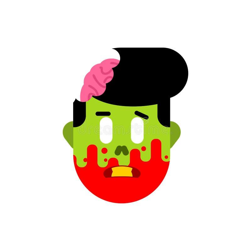 Tête de zombi d'isolement Visage des morts et des cerveaux verts à l'intérieur du crâne illustration de vecteur