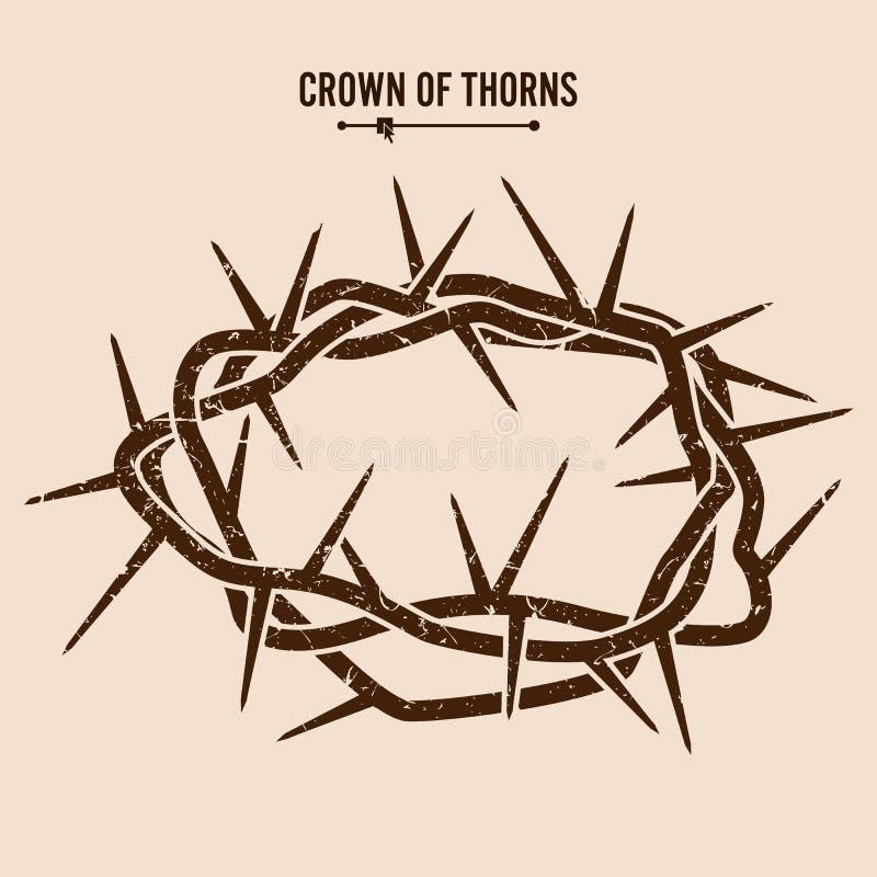 Tête des épines Silhouette d'une couronne des épines Illustration de vecteur de Jesus Christ illustration libre de droits