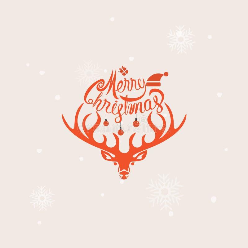 Tête des cerfs communs Éléments typographiques de conception de Joyeux Noël joyeux illustration de vecteur