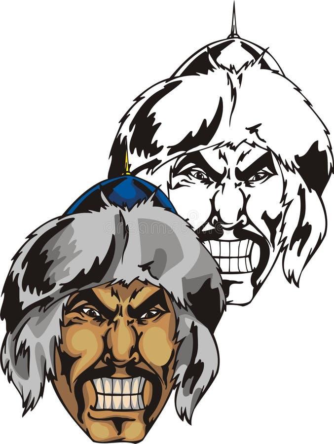 Tête du guerrier mongol illustration stock