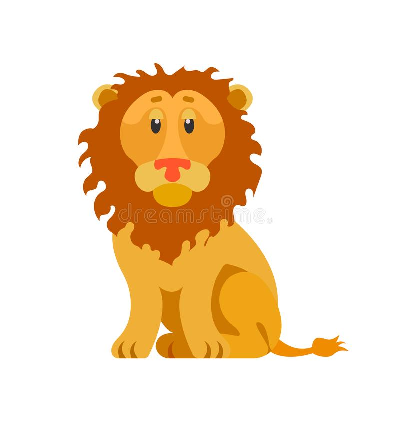 Tête du lion, animal sauvage avec le manteau velu d'isolement illustration de vecteur