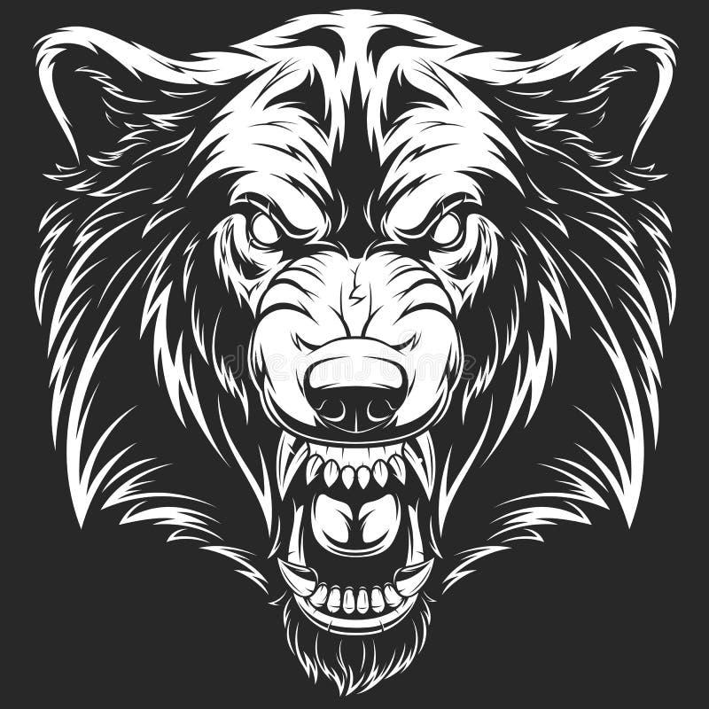 Tête du loup féroce illustration libre de droits