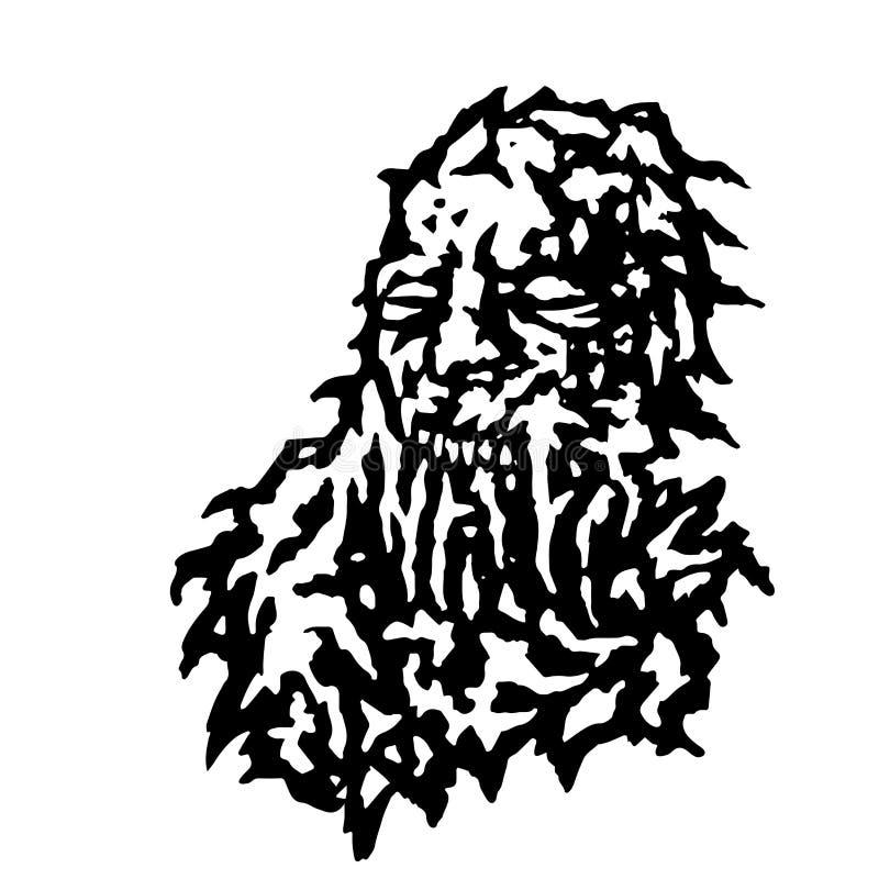 Tête effrayante de zombi avec le saignement de la bouche du mucus Illustration de vecteur illustration libre de droits