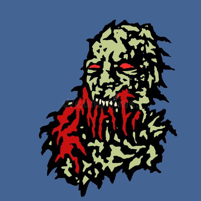Tête effrayante de zombi avec le sang rouge Illustration de vecteur illustration stock