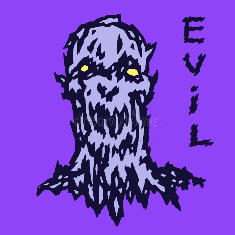 Tête effrayante du démon bestial Illustration de vecteur illustration stock