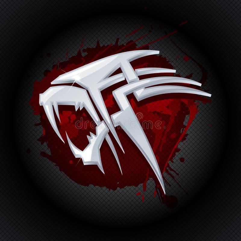 Tête en acier de tigre contre la baisse du logo d'art de sang illustration de vecteur