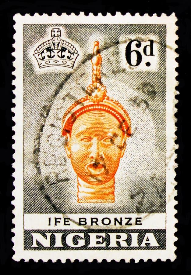Tête en bronze de statue, serie de motifs de pays, vers 1953 images stock