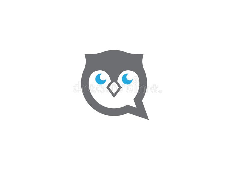 Tête et visage de hibou dans une icône de causerie pour la conception de logo illustration stock