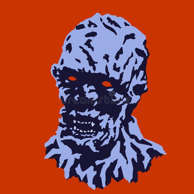 Tête fantasmagorique de monstre avec un visage déchiré Illustration de vecteur illustration de vecteur