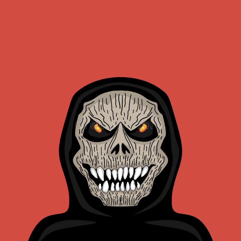 Tête fantasmagorique rampante de crâne de moissonneuse de vecteur avec le croc d'isolement sur le fond rouge Illustratio tiré par illustration libre de droits