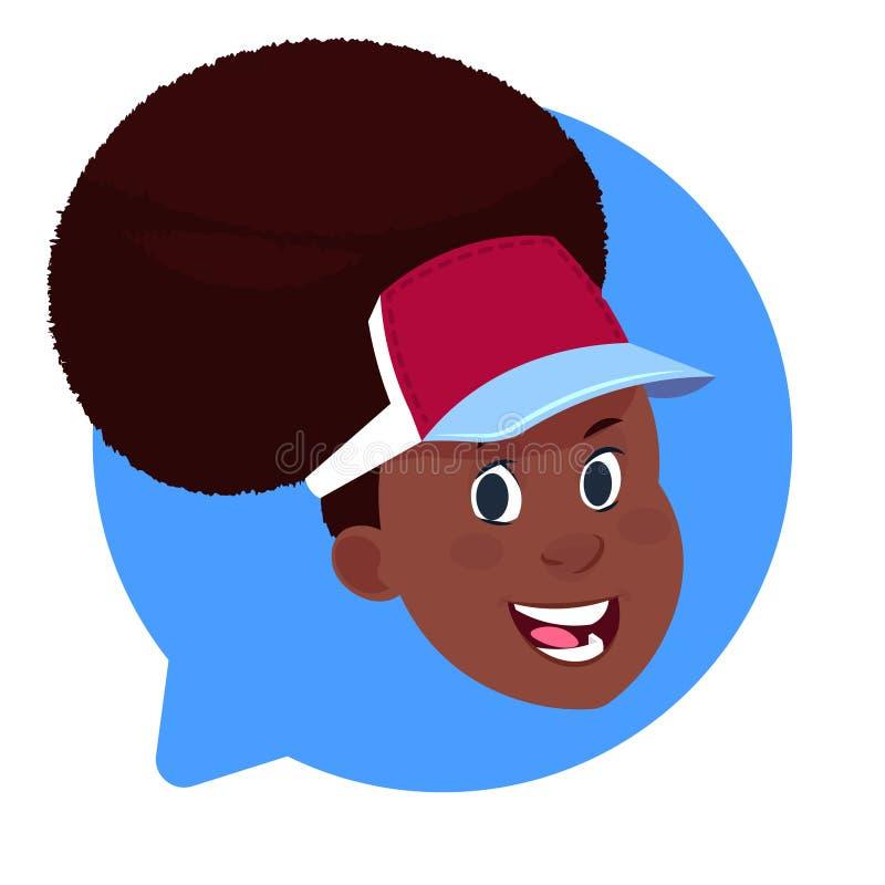 Tête femelle d'Afro-américain d'icône de profil dans la bulle de causerie d'isolement, portrait de personnage de dessin animé d'a illustration stock