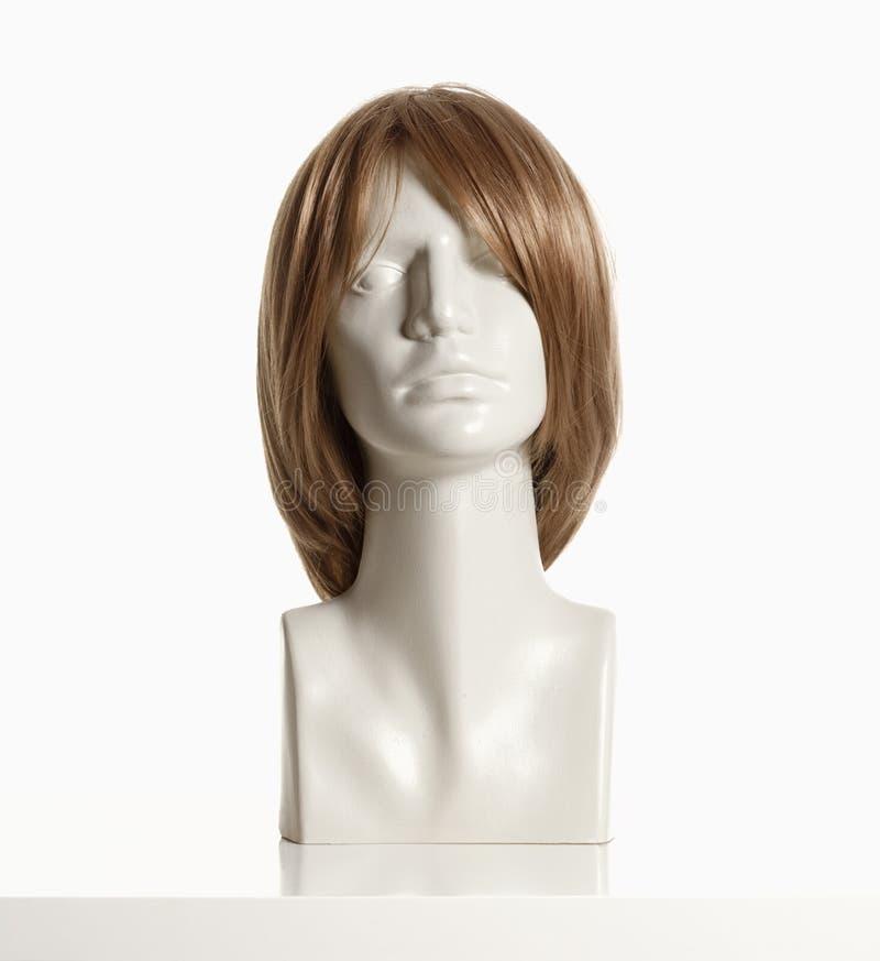 Tête femelle de mannequin avec la perruque image stock