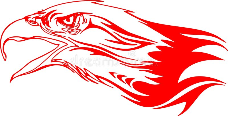 Tête flamboyante 3 d'aigle illustration stock