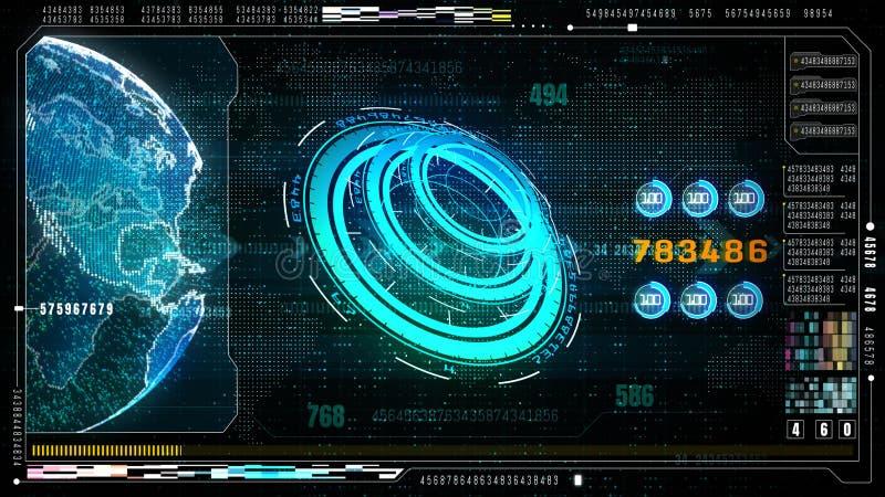 Tête futuriste de pointe d'interface utilisateurs vers le haut d'écran de visualisation avec l'affichage de données numériques et illustration stock