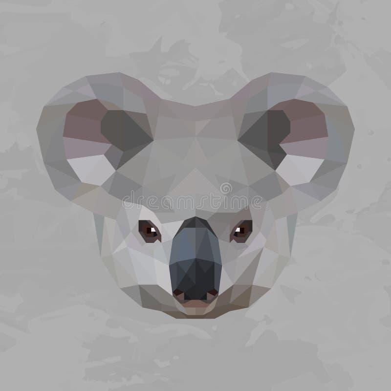 Tête géométrique de koala colorée illustration de vecteur