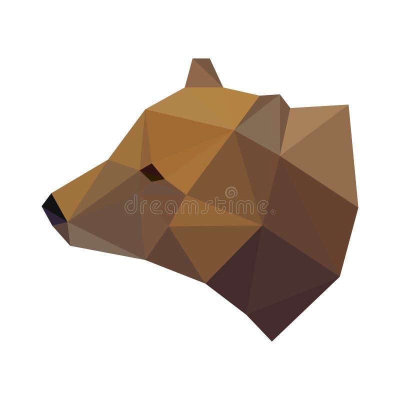 Tête géométrique polygonale abstraite d'ours de triangle d'isolement sur le fond blanc illustration libre de droits
