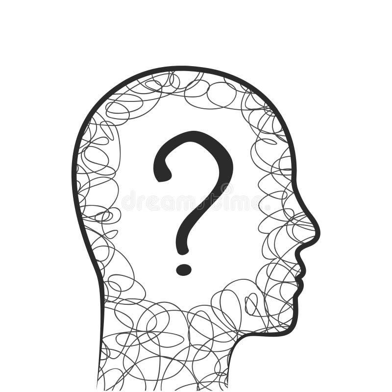 Tête, griffonnage et concept de point d'interrogation illustration libre de droits