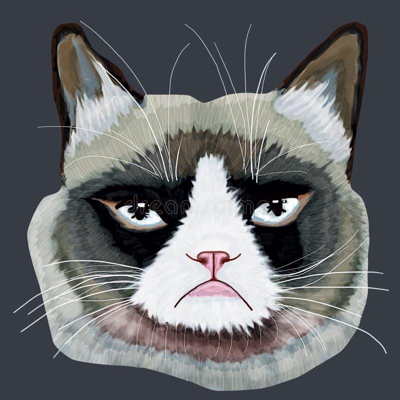Tête grincheuse de chat illustration de vecteur