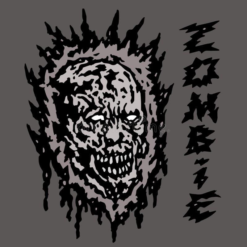Tête grise rampante de zombi Illustration de vecteur illustration de vecteur