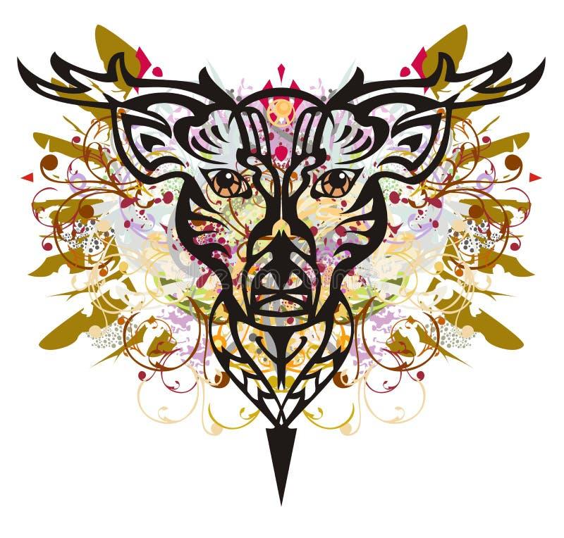 Tête grunge de cerfs communs illustration libre de droits