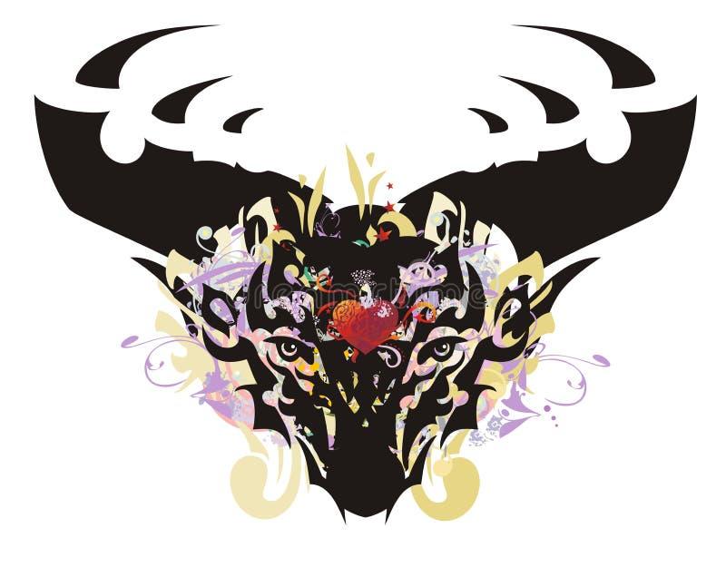 Tête grunge de cerfs communs avec le coeur rouge illustration libre de droits