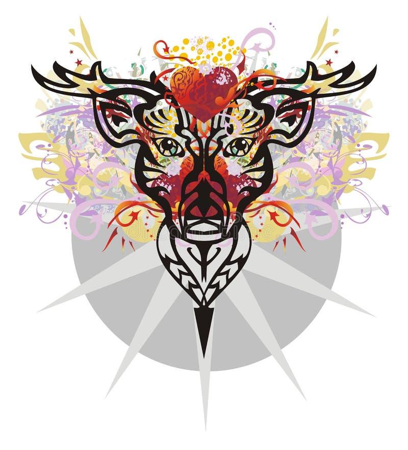 Tête grunge de cerfs communs avec les coeurs rouges illustration libre de droits