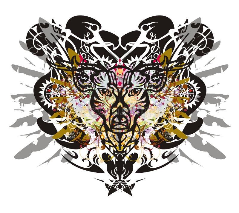 Tête grunge de cerfs communs contre le contexte d'aigle illustration de vecteur
