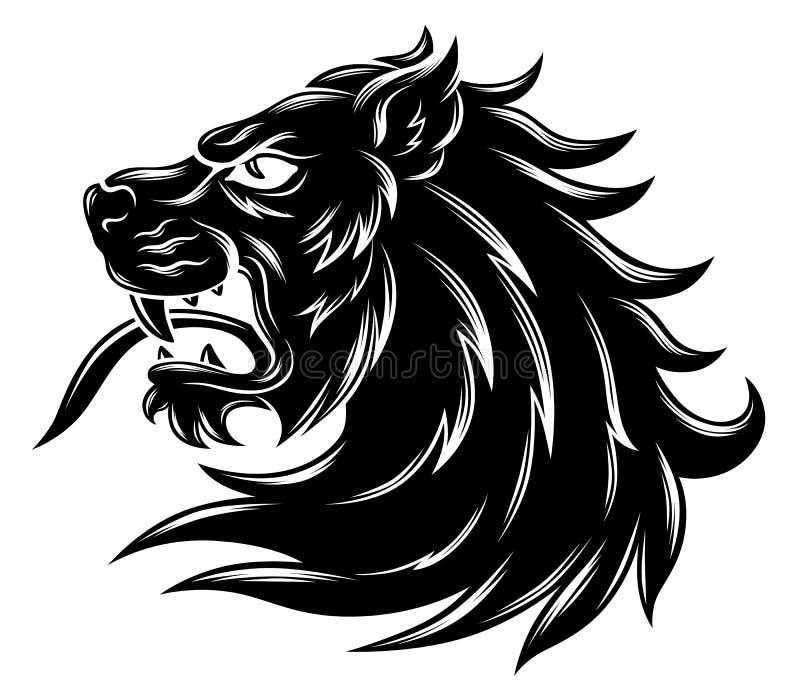 Tête héraldique de lion illustration libre de droits