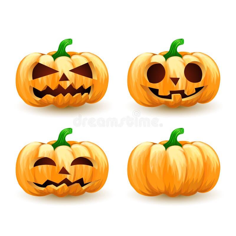 Tête Halloween fantasmagorique réglé de potiron de bande dessinée illustration de vecteur