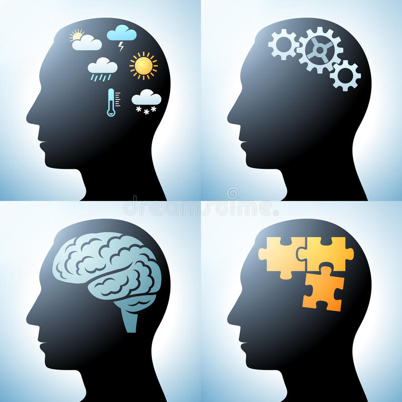 Tête humaine avec des concepts de cerveau illustration de vecteur