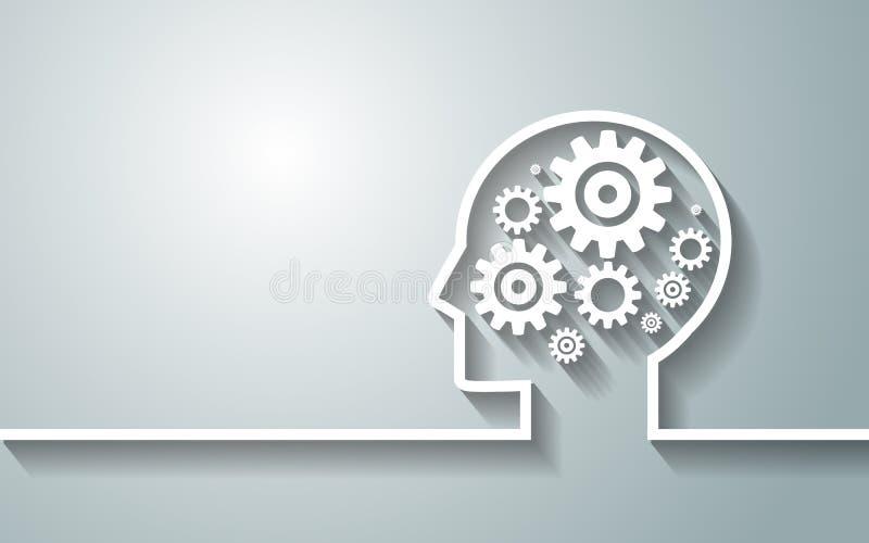 Tête humaine avec l'ensemble de vitesses comme travail de symbole de backgroun de cerveau illustration libre de droits