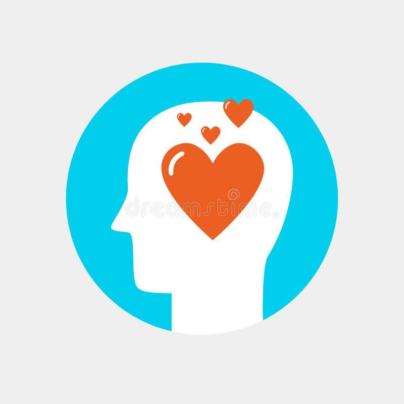 Tête humaine avec l'icône de coeur, style plat de concept d'amour photos stock