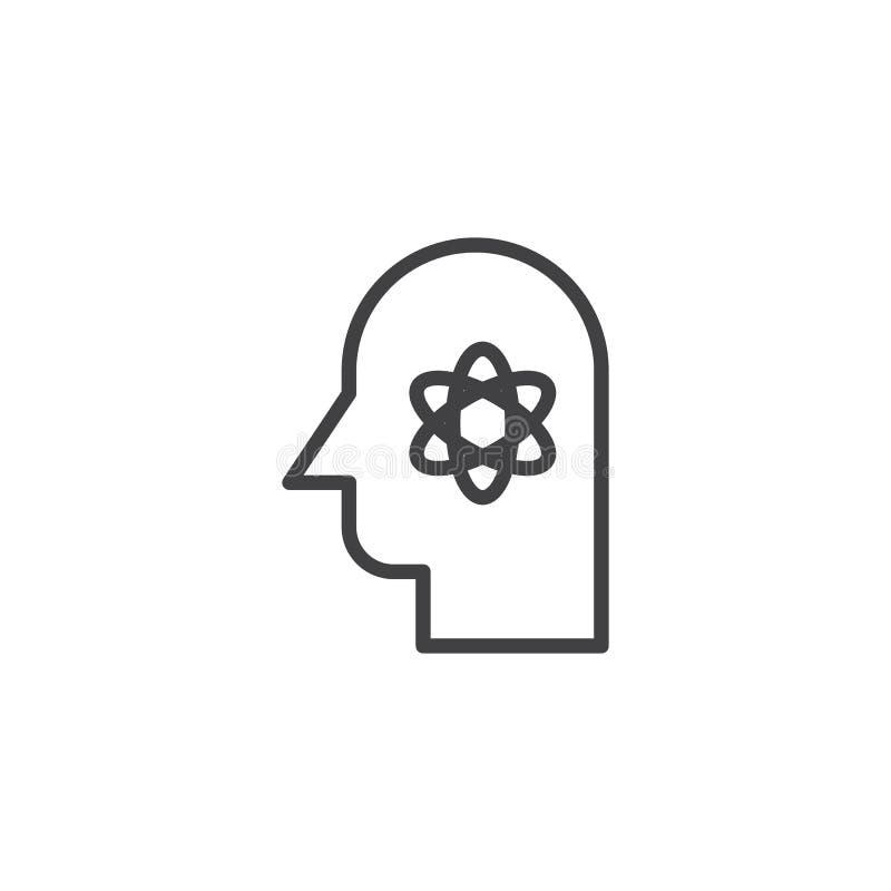 Tête humaine avec la structure d'atome à l'intérieur de l'icône d'ensemble illustration stock