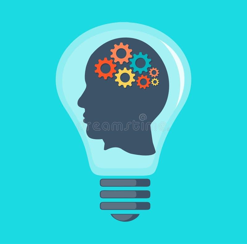 Tête humaine avec le cerveau et les vitesses image stock