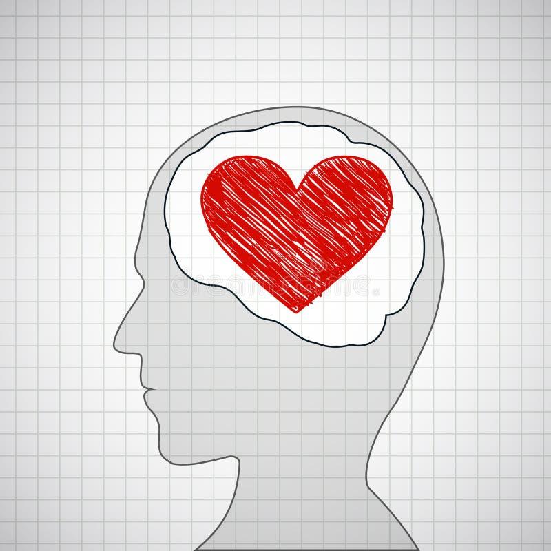 Tête humaine avec un coeur rouge à l'intérieur illustration libre de droits