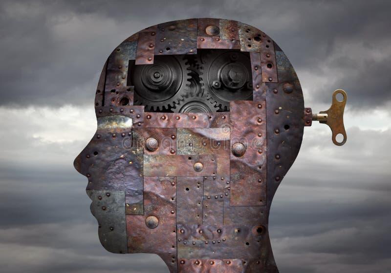Tête humaine bionique avec des circuits intégrés et des mécanismes dans le cerveau images libres de droits