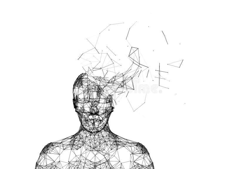 Tête humaine brisée d'isolement sur le blanc Intelligence artificielle illustration libre de droits