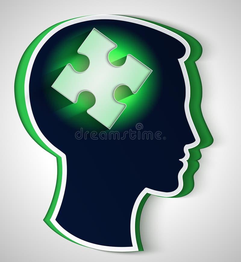 Tête humaine. concept d'une nouvelle idée, morceau de l'unité centrale illustration stock