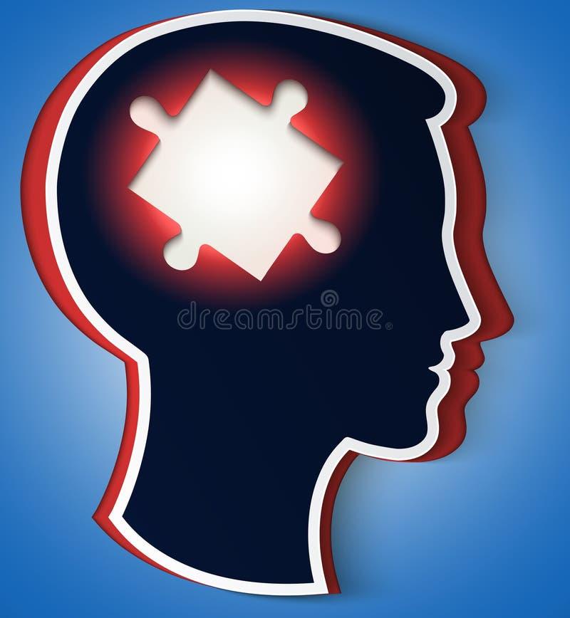 Tête humaine. concept d'une nouvelle idée, pièce du puzzle illustration stock