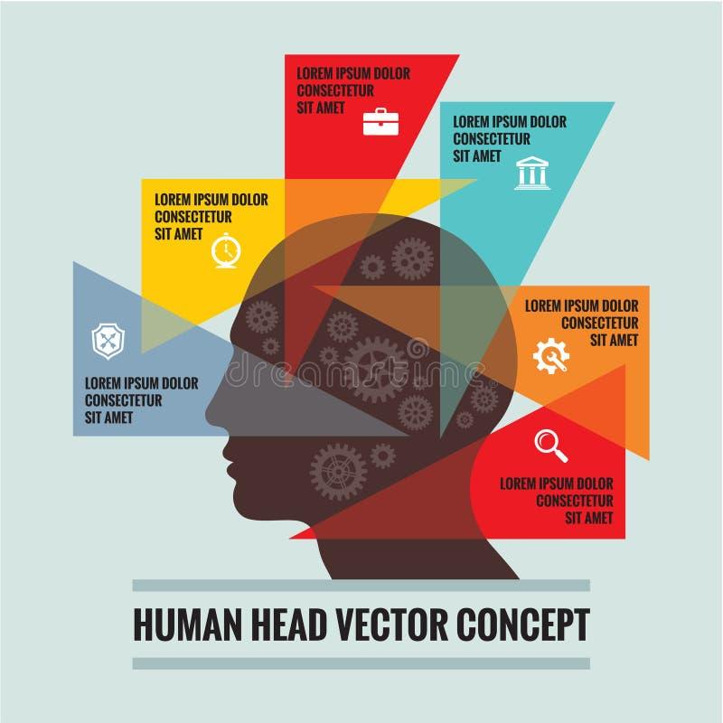 Tête humaine - concept infographic - plan créatif de vecteur Structure géométrique de triangles illustration stock
