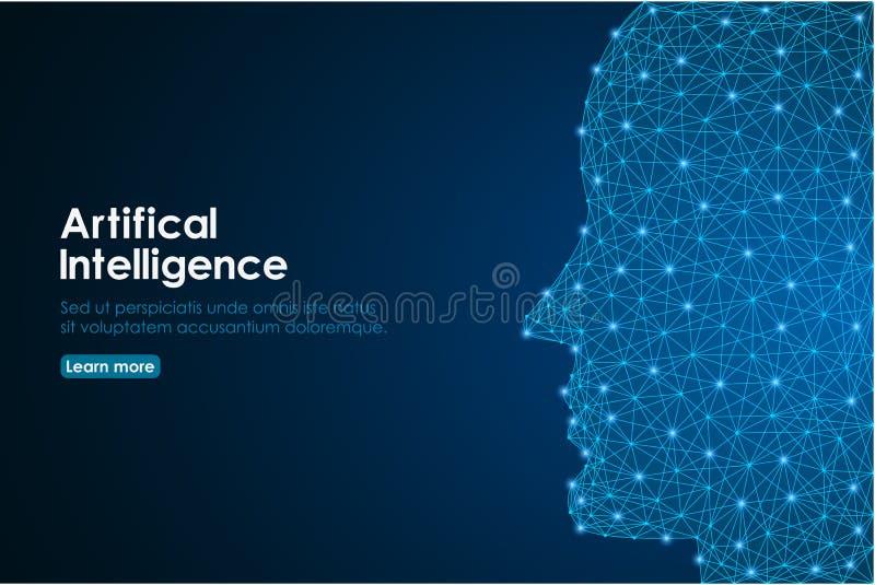 Tête humaine créée dans le bas poly, humain visage fait par la maille polygonale de wireframe Concept d'intelligence artificielle illustration stock