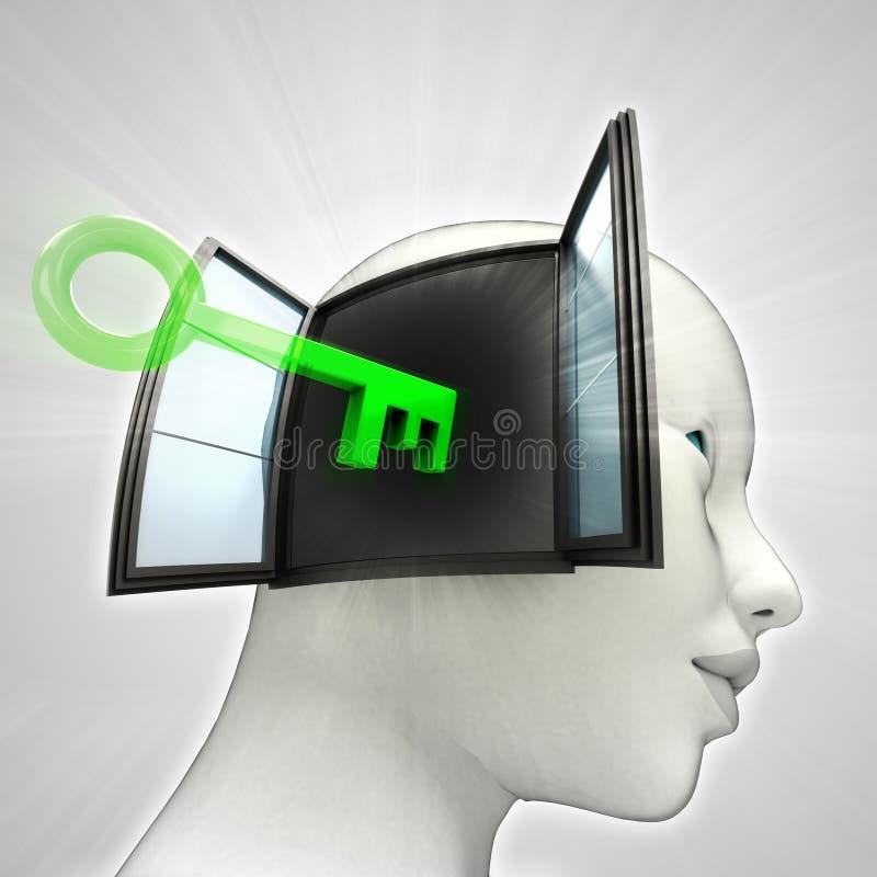 Tête humaine d'ouverture principale par le concept de mémoire de fenêtre illustration stock