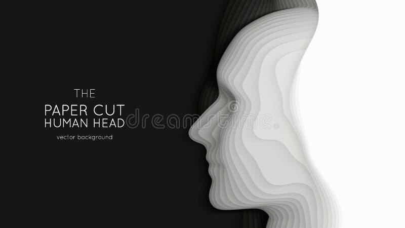 Tête humaine de coupe de papier abstraite du vecteur 3D Art de d?coupage monochrome Profil principal de métier de papier avec le  illustration de vecteur