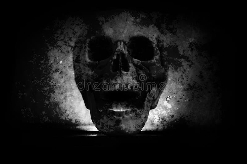 Tête humaine de crâne sur le fond noir foncé de tache floue - vieux style grunge effrayant de cru de crâne photographie stock